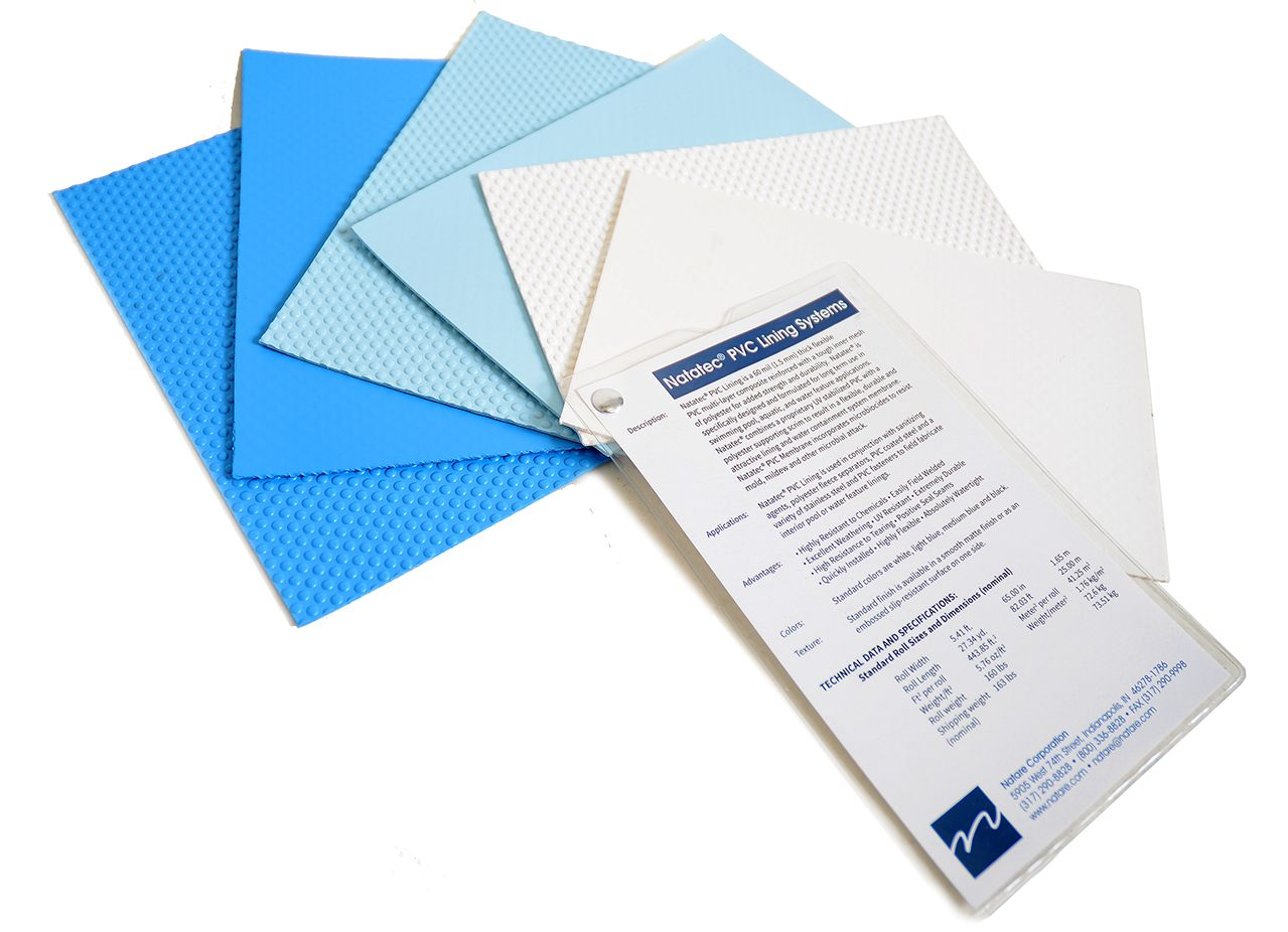 Natatec PVC pool lining color samples
