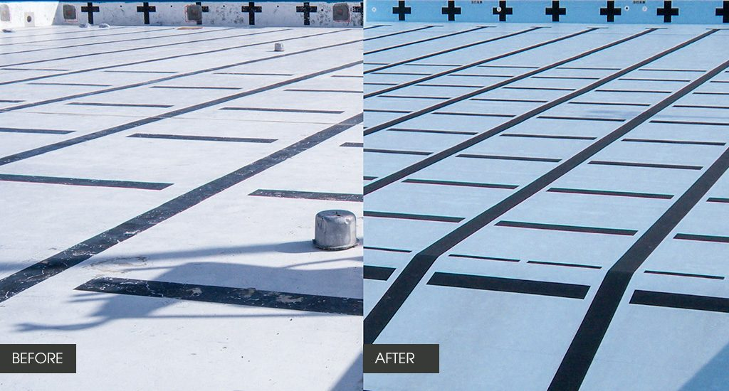 commercial pool renovation before and after PVC membrane