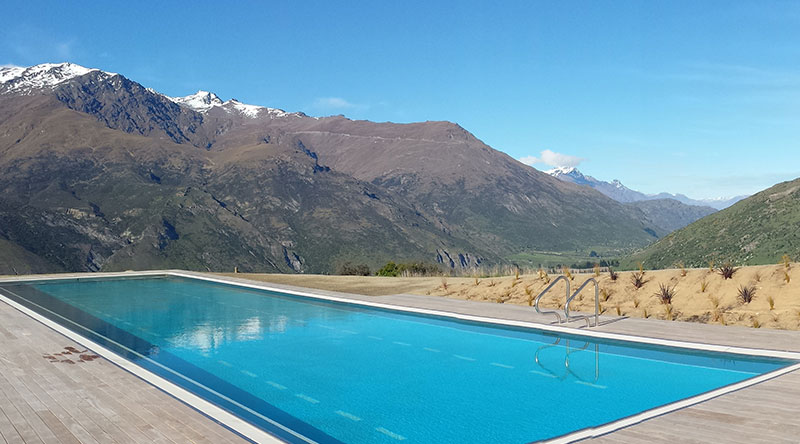 two lane stainless steel lap pool in New Zealand
